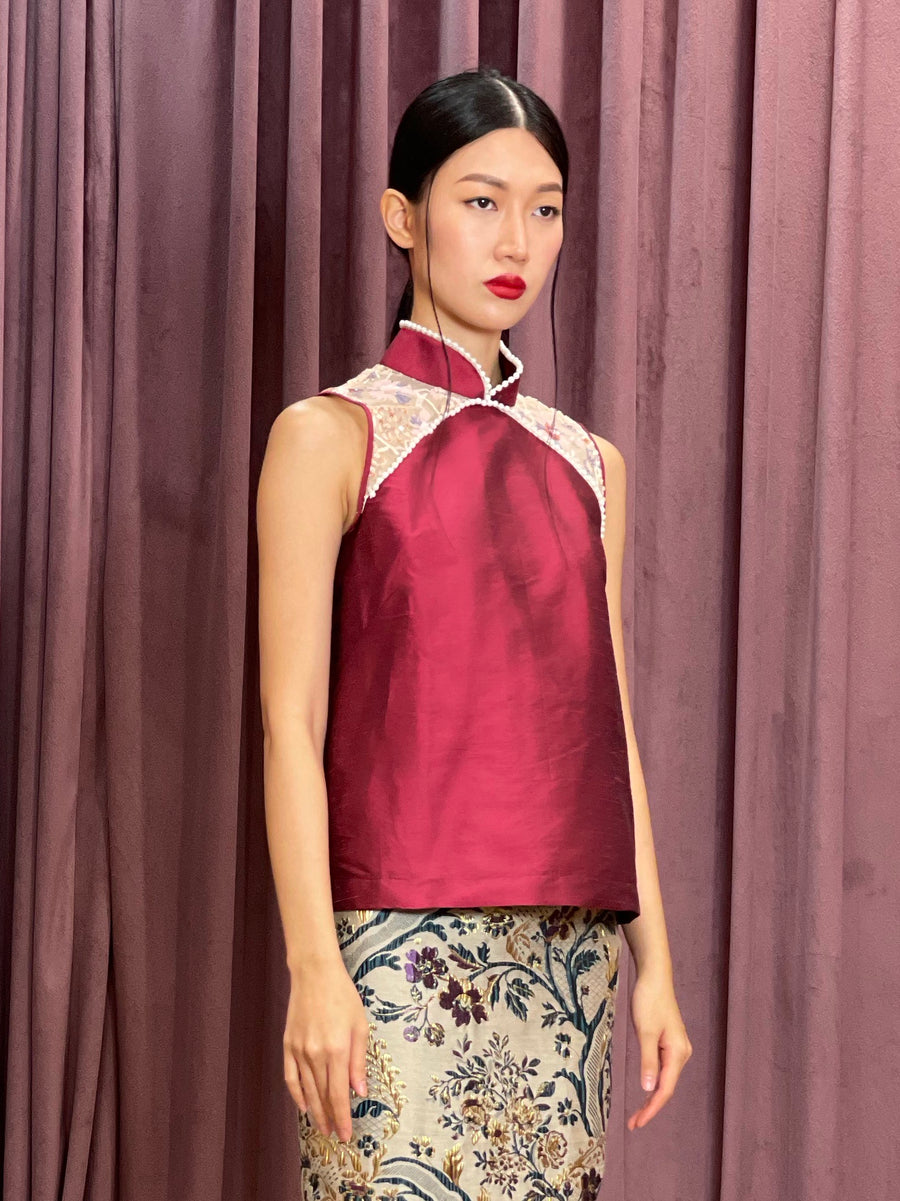 Maarimaia Silk Qipao Sleeveless Top | Red