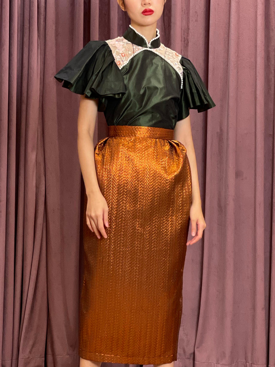 Pleated Brocade Pencil Skirt | Bronze Chevron