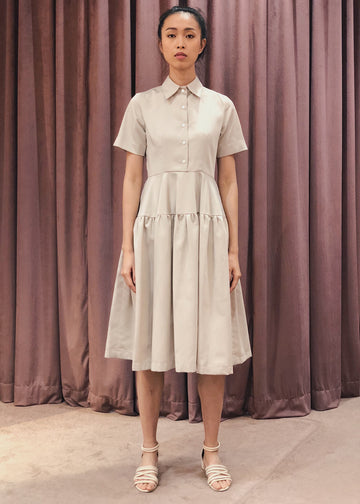 Button Down Gathered Flared Skirt Midi Dress | Beige
