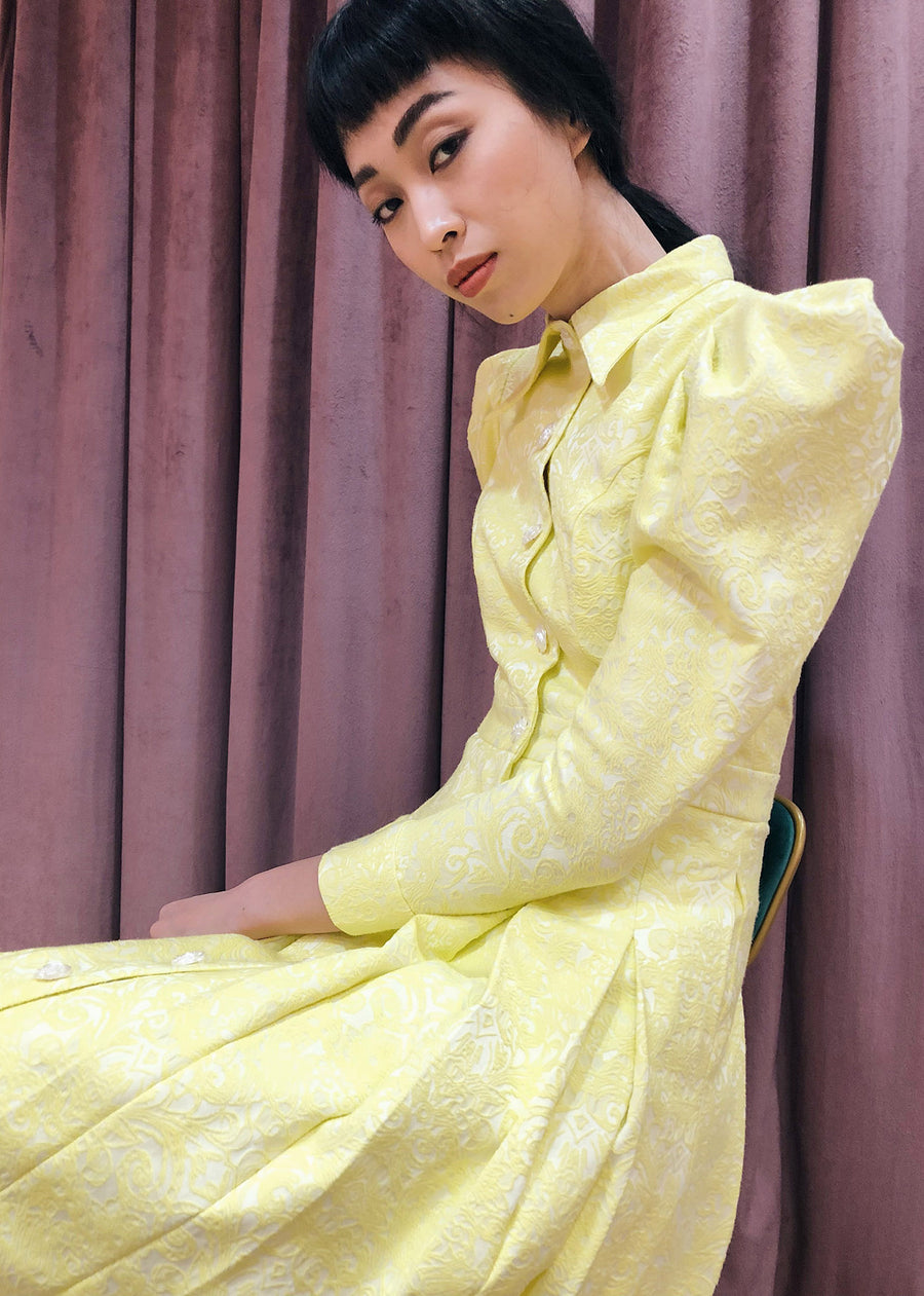 Statement Sleeve 70s Collar Button Down Pleated Midi | Yellow