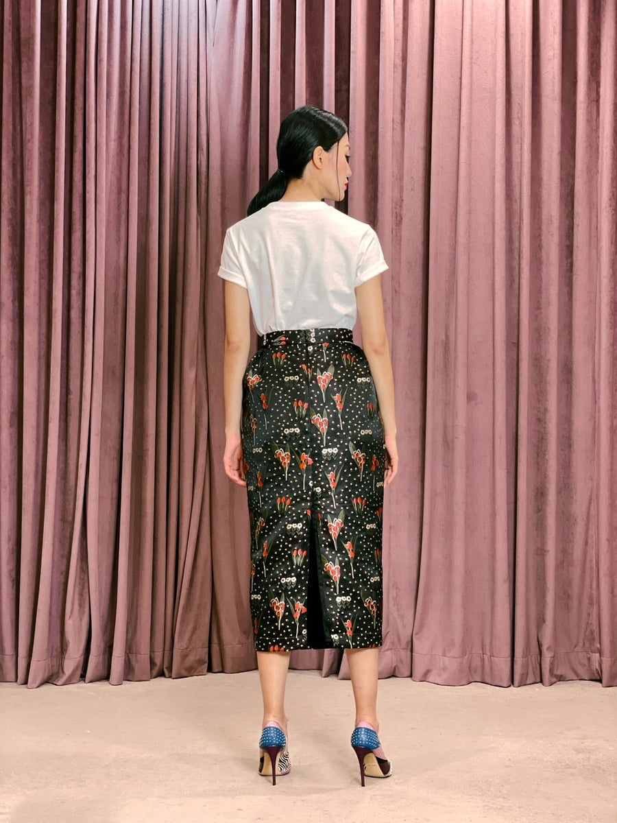 Pleated Brocade Pencil Skirt | Black Red Floral