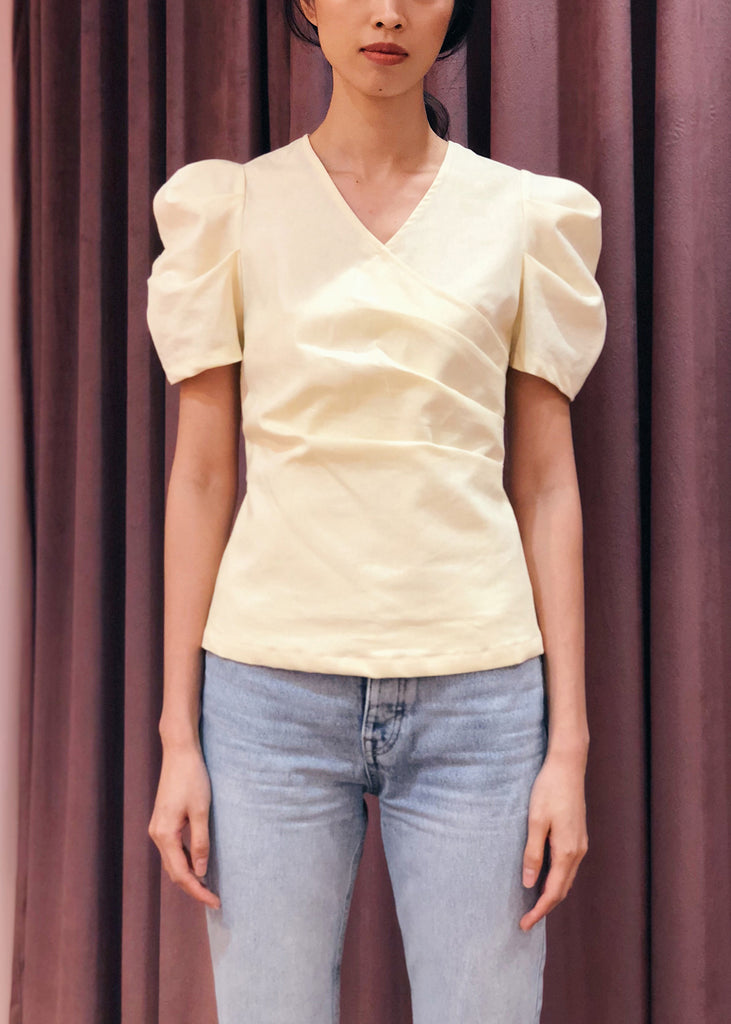 Puff Sleeve Crossover Gathered Waist Top | Yellow