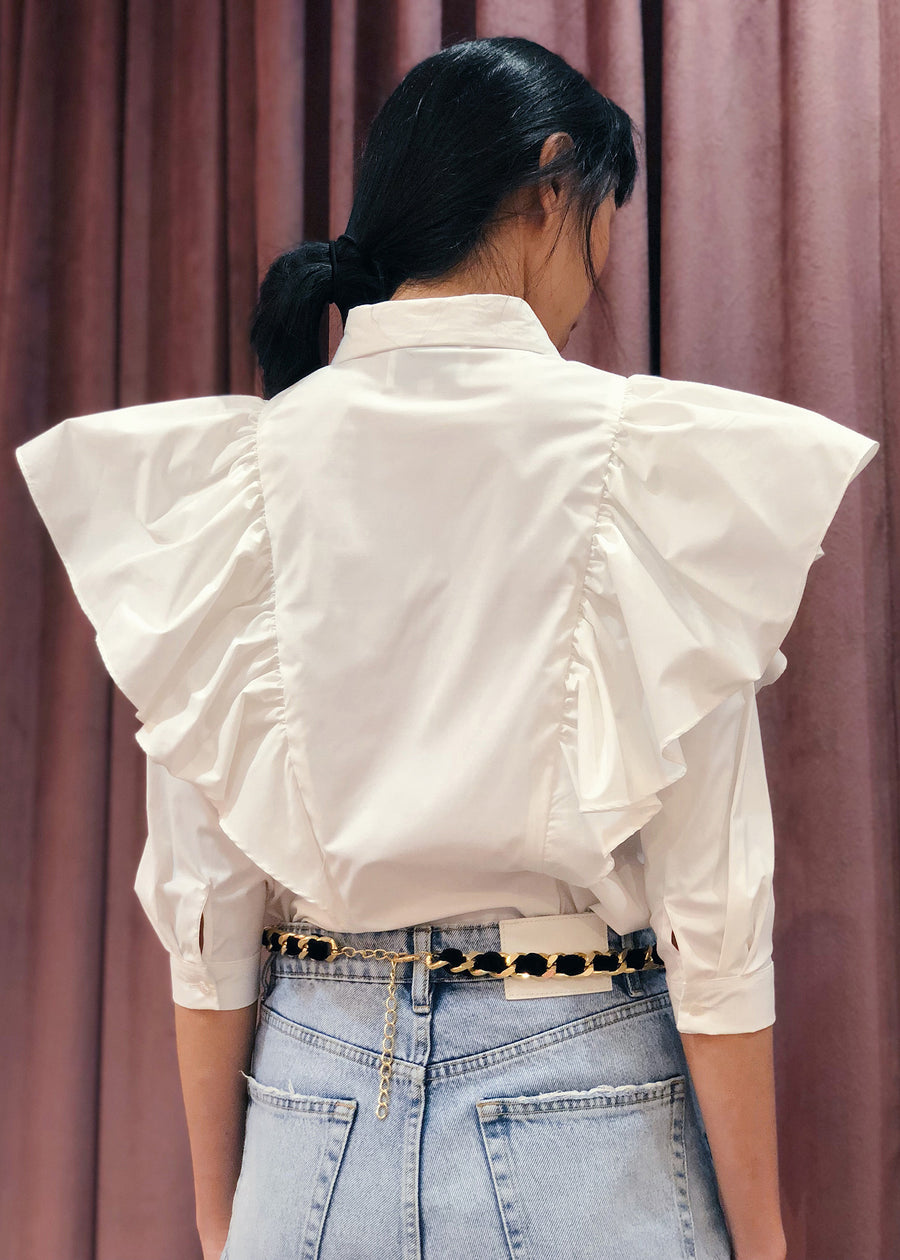 Oversized Ruffled Shoulder Button Down Top |  White