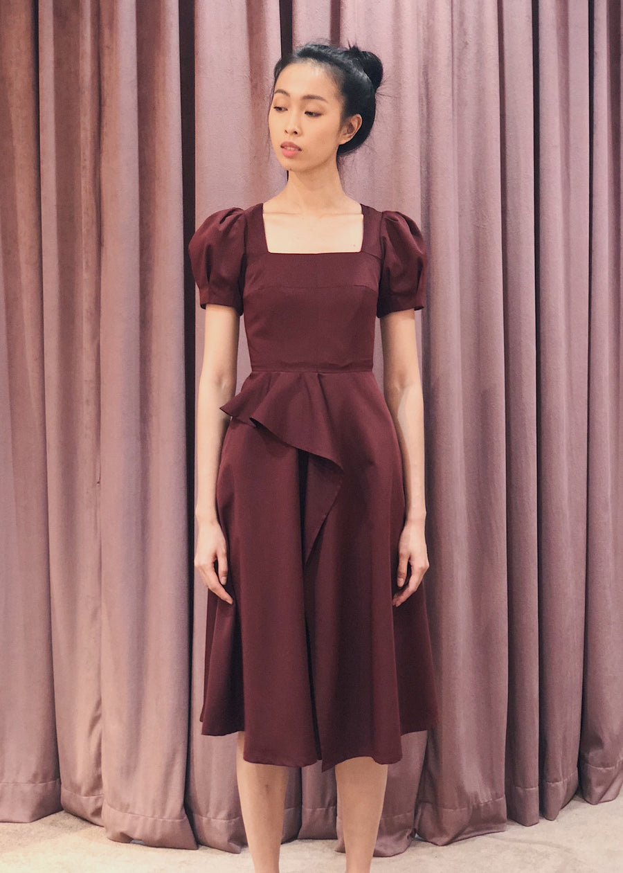 Puff Sleeve Overlap Skirt Midi Dress | Maroon