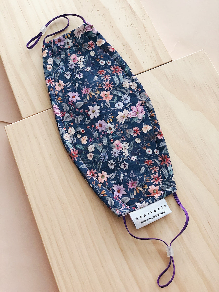 Rectangular Liberty Cotton Face Mask | Multi Navy Floral