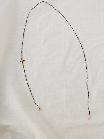 Mask Chain Necklace | Black with Floral Bead