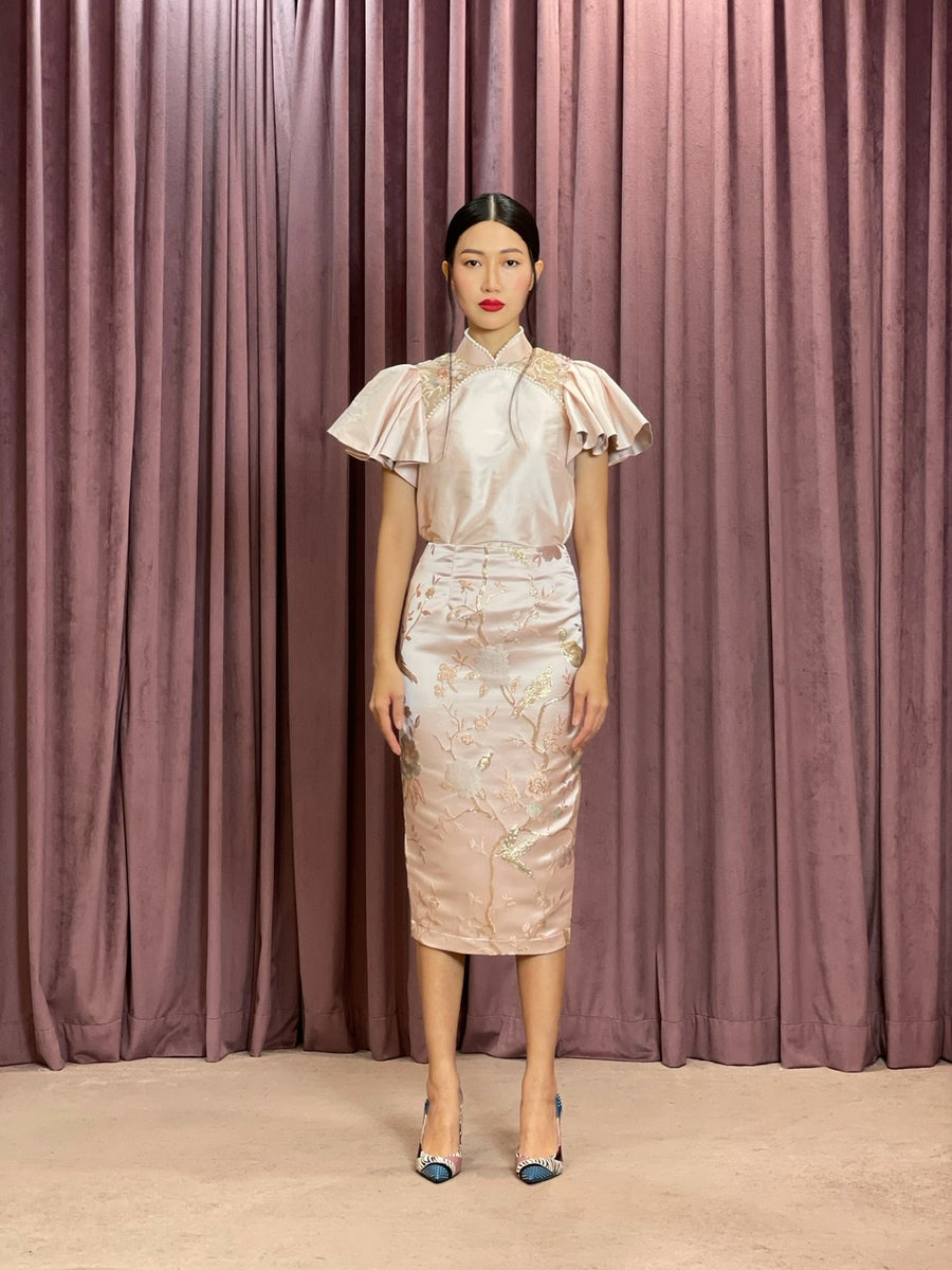 Brocade Pencil Skirt | Pastel Pink Chinoiserie