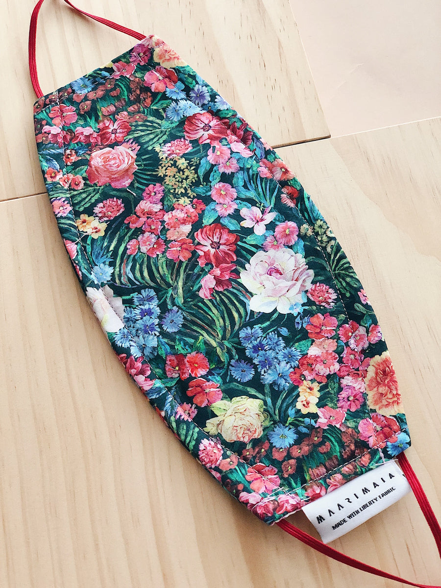 Rectangular Liberty Cotton Face Mask | Red Green Floral