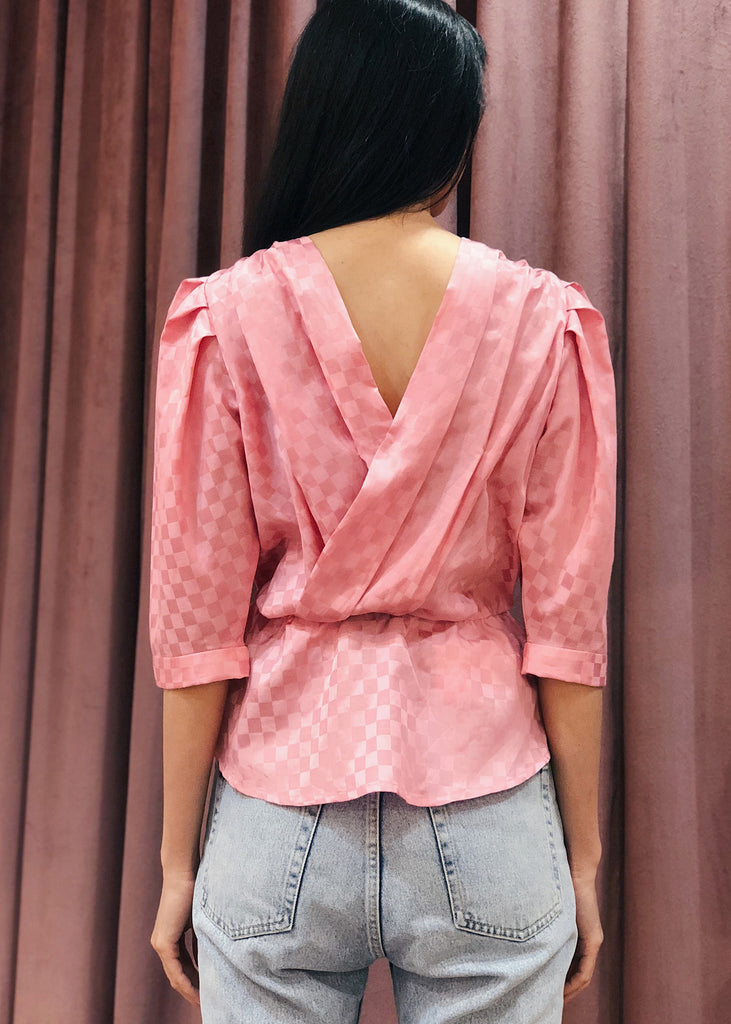 Pleated Shoulder Crossover Back Rhinestone Button Peplum Top | Pink