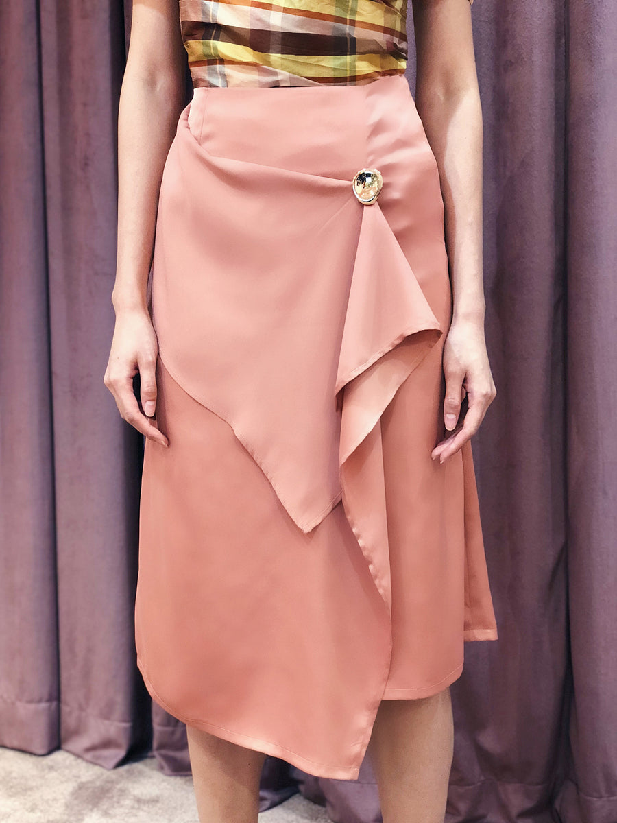 Asymmetrical Handkerchief Wrap Skirt with Button Accent | Blush