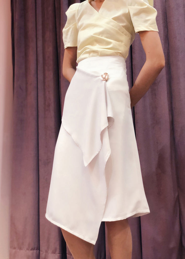 Asymmetrical Handkerchief Wrap Skirt with Button Accent | Light Grey