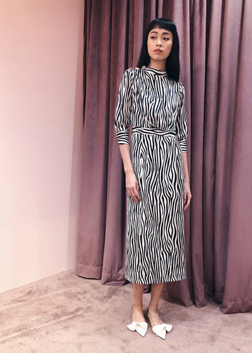 Rhinestone Pleated Shoulder High Neck Midi | Zebra