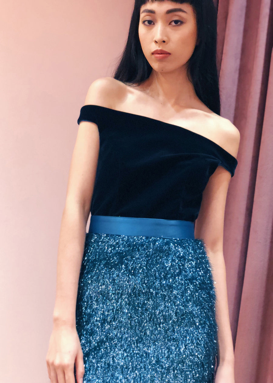 Off Shoulder Velvet Tinsel Pencil Belted Midi Dress | Teal