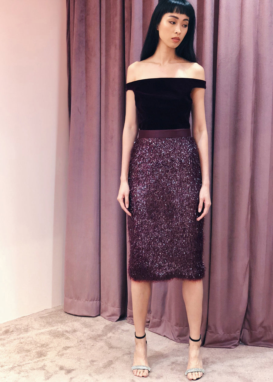 Off Shoulder Velvet Tinsel Pencil Belted Midi Dress | Maroon