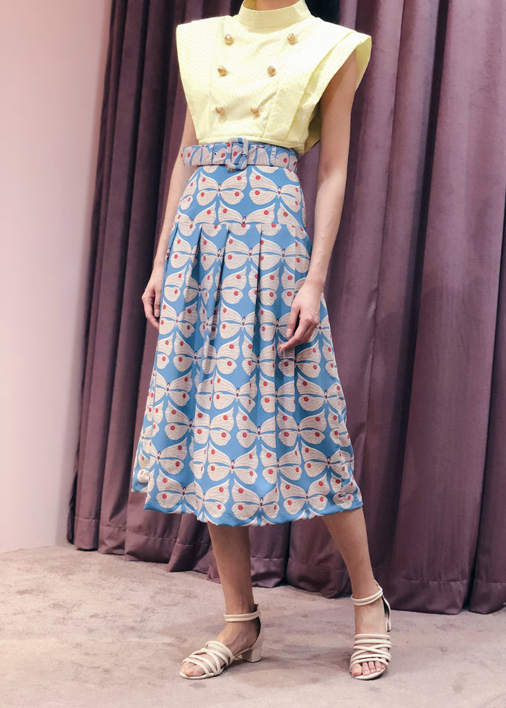 Belted Pleated Midi Skirt | Blue