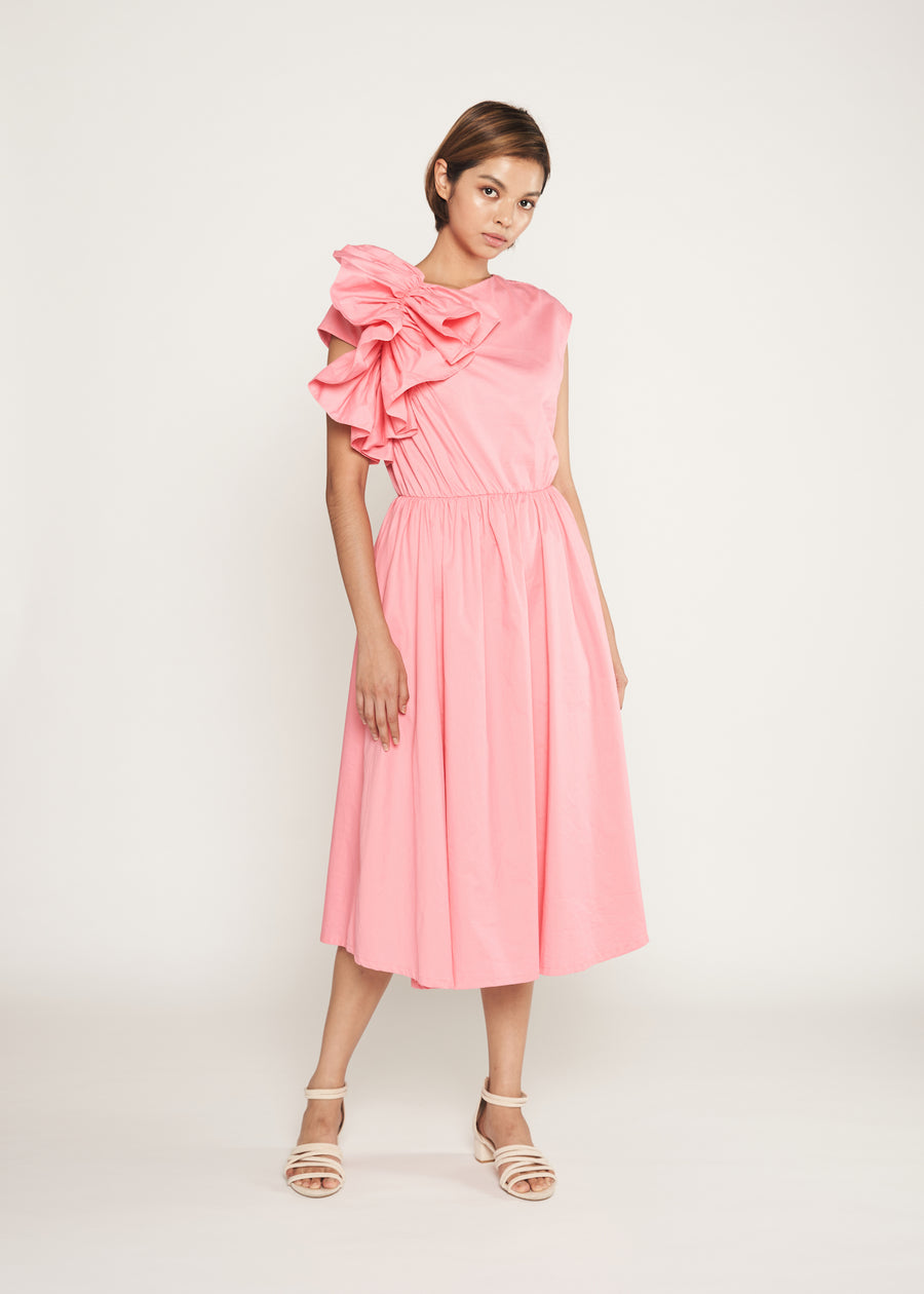 Statement  Side Ruffle Dress | Pink