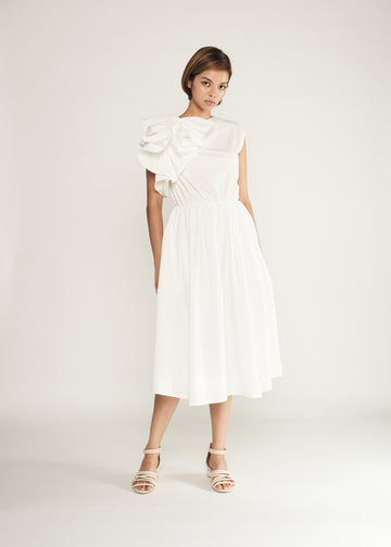 Statement  Side Ruffle Dress | White