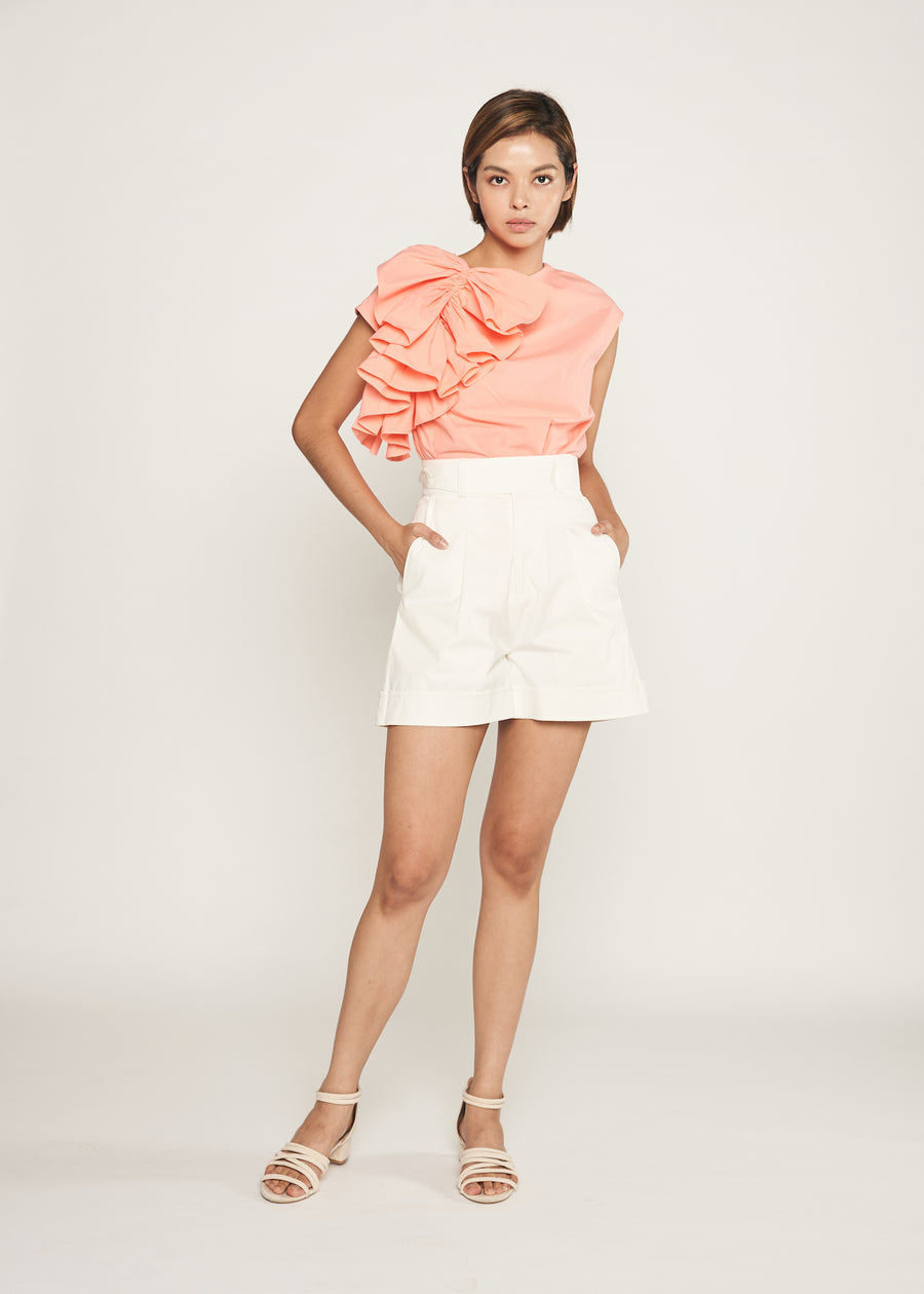 Statement Side Button Cuffed Shorts  | White