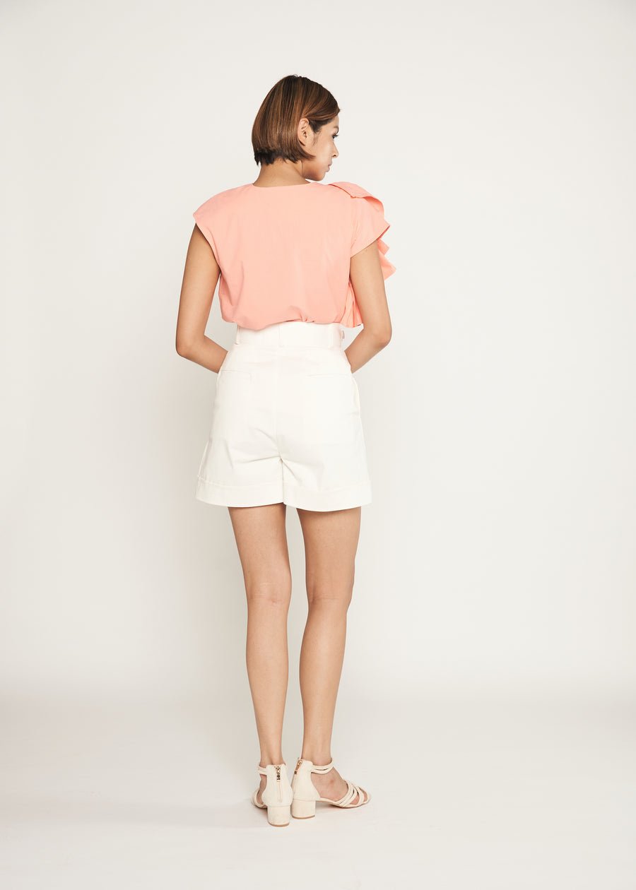 Statement Oversized Side Ruffle Top  | Coral