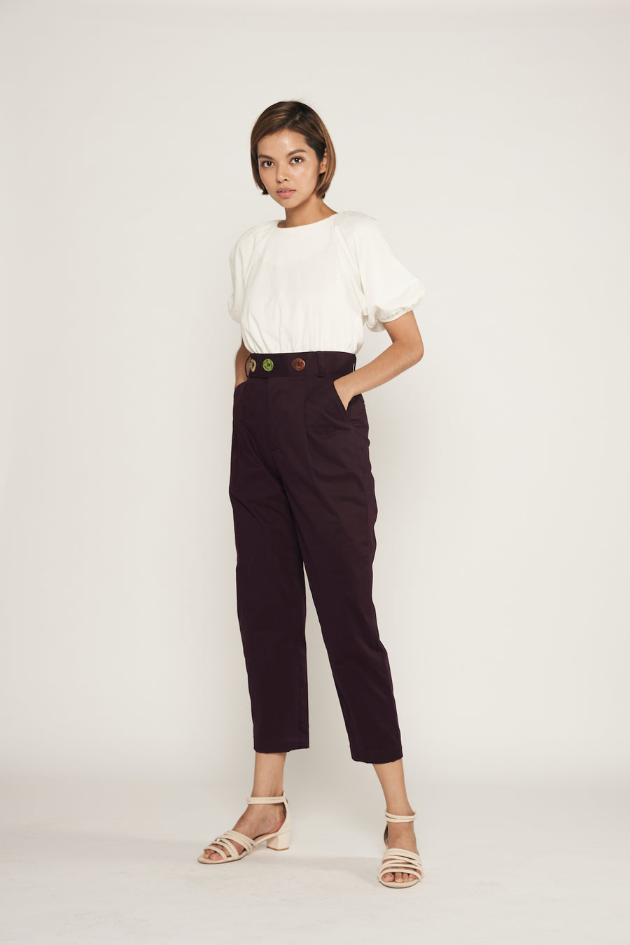 Statement Triple Button Pegged Trousers  | Maroon