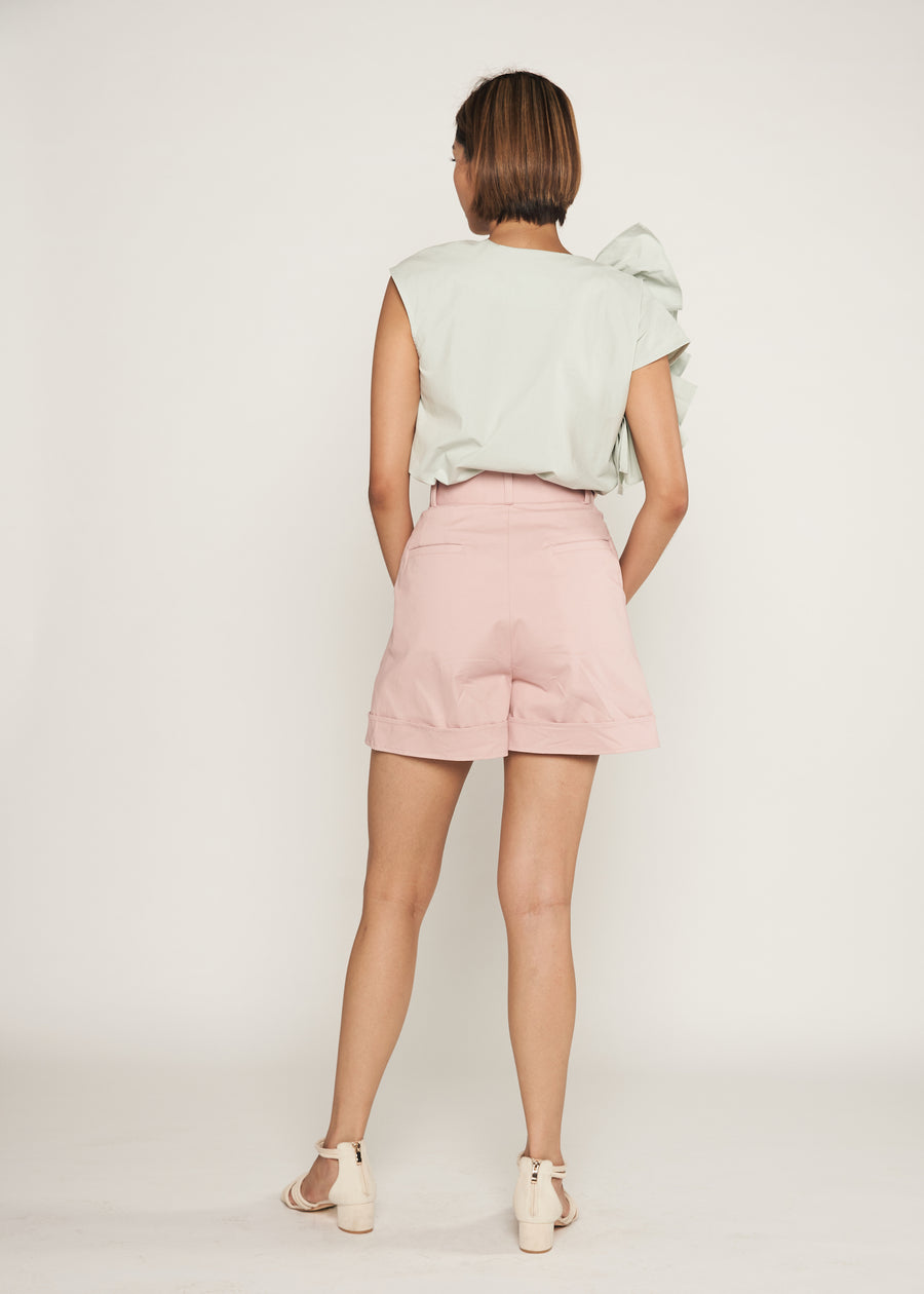 Statement Side Button Cuffed Shorts  | Powder Pink