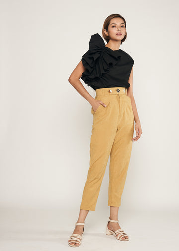 Statement Oversized Side Ruffle Top  | Black