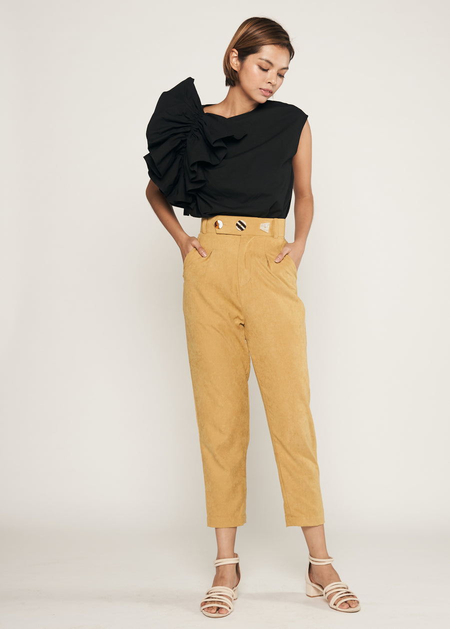 Statement Triple Button Pegged Trousers  | Mustard Yellow