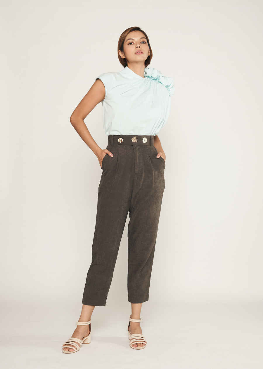 Statement Triple Button Pegged Trousers  | Grey Black