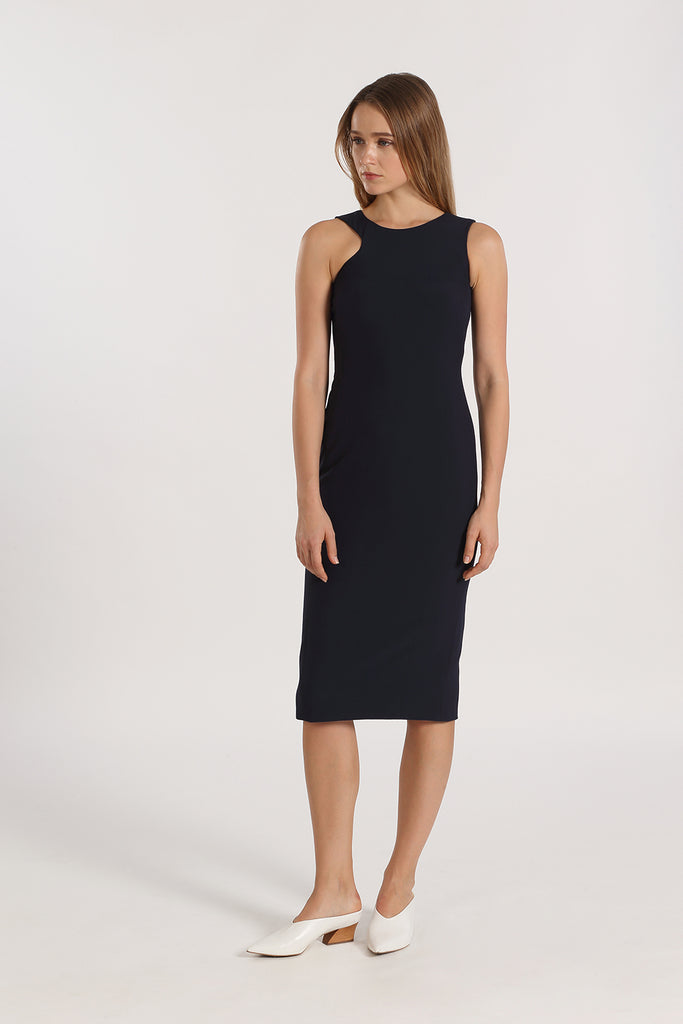 Asymmetrical Sleeve Fitted Midi | Navy
