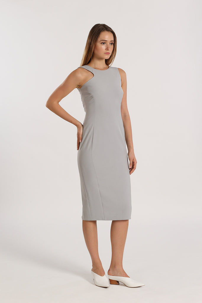 Asymmetrical Sleeve Fitted Midi | Grey