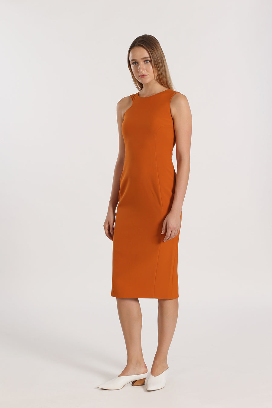 Asymmetrical Sleeve Fitted Midi | Orange