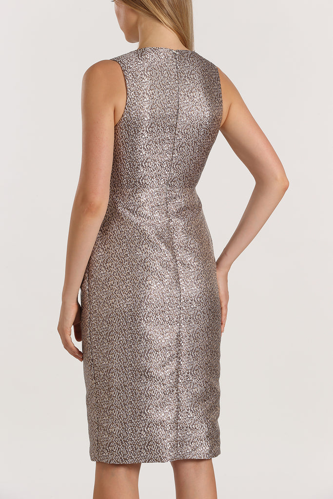 Sleeveless Wrap Front Dress | Metallic Purple