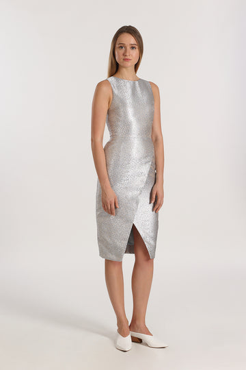 Sleeveless Wrap Front Dress | Metallic Blue