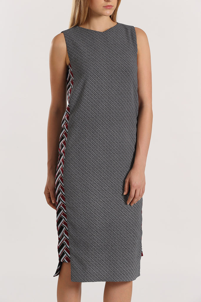Print Panel Midi Dress | Maroon
