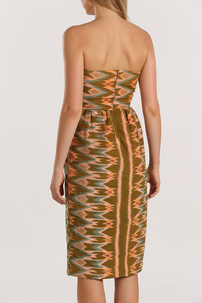 Bustier Handwoven Dress | Green