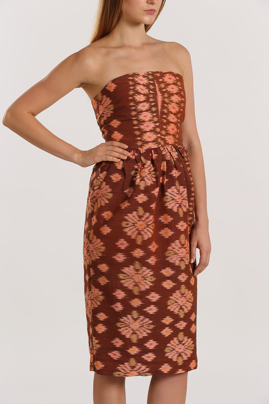 Bustier Handwoven Dress | Brown