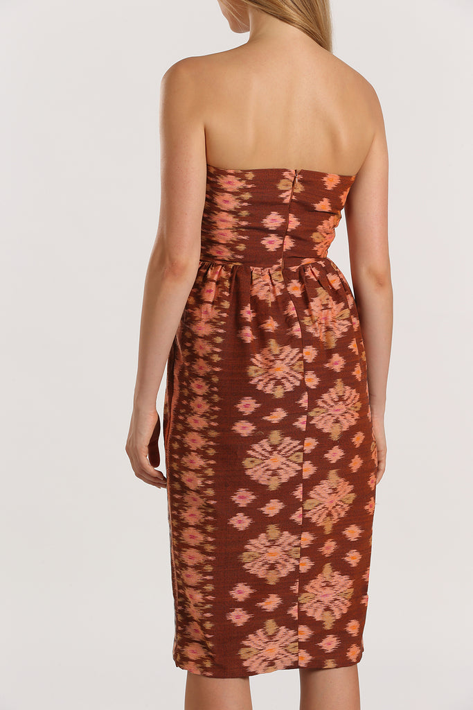 Bustier Handwoven Dress | Orange