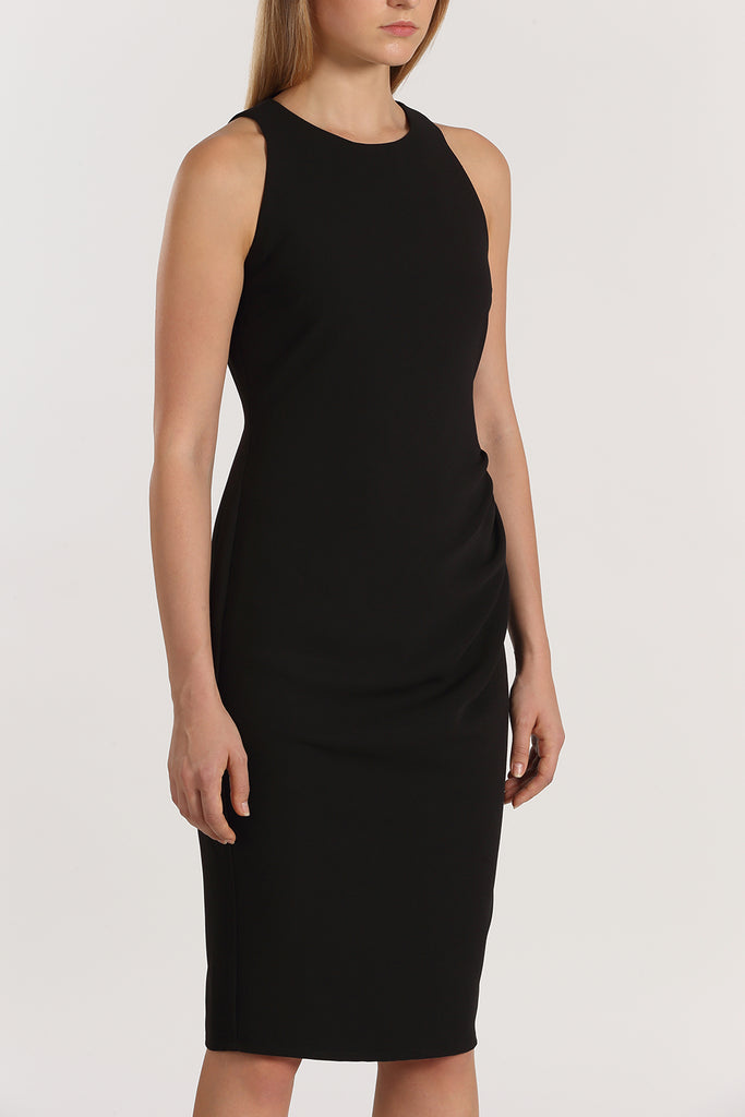 Racer Front Gathered Fitted Dress | Black