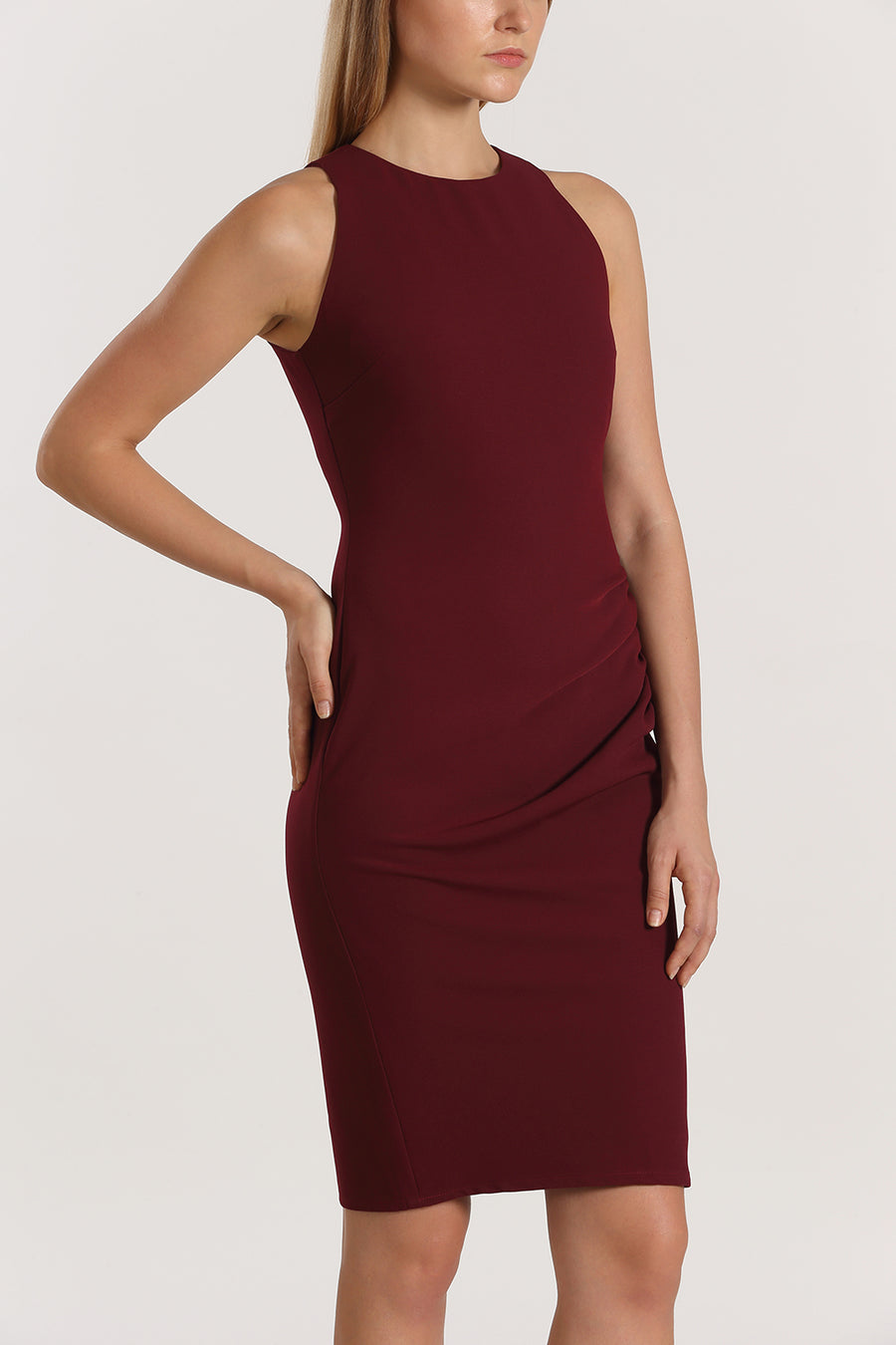 Racer Front Gathered Fitted Dress | Maroon