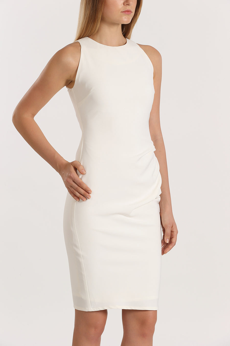 Racer Front Gathered Fitted Dress | White