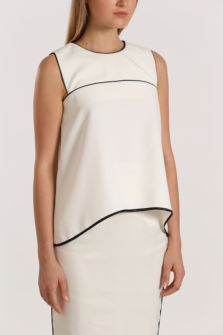 Sleeveless Binded Top | White