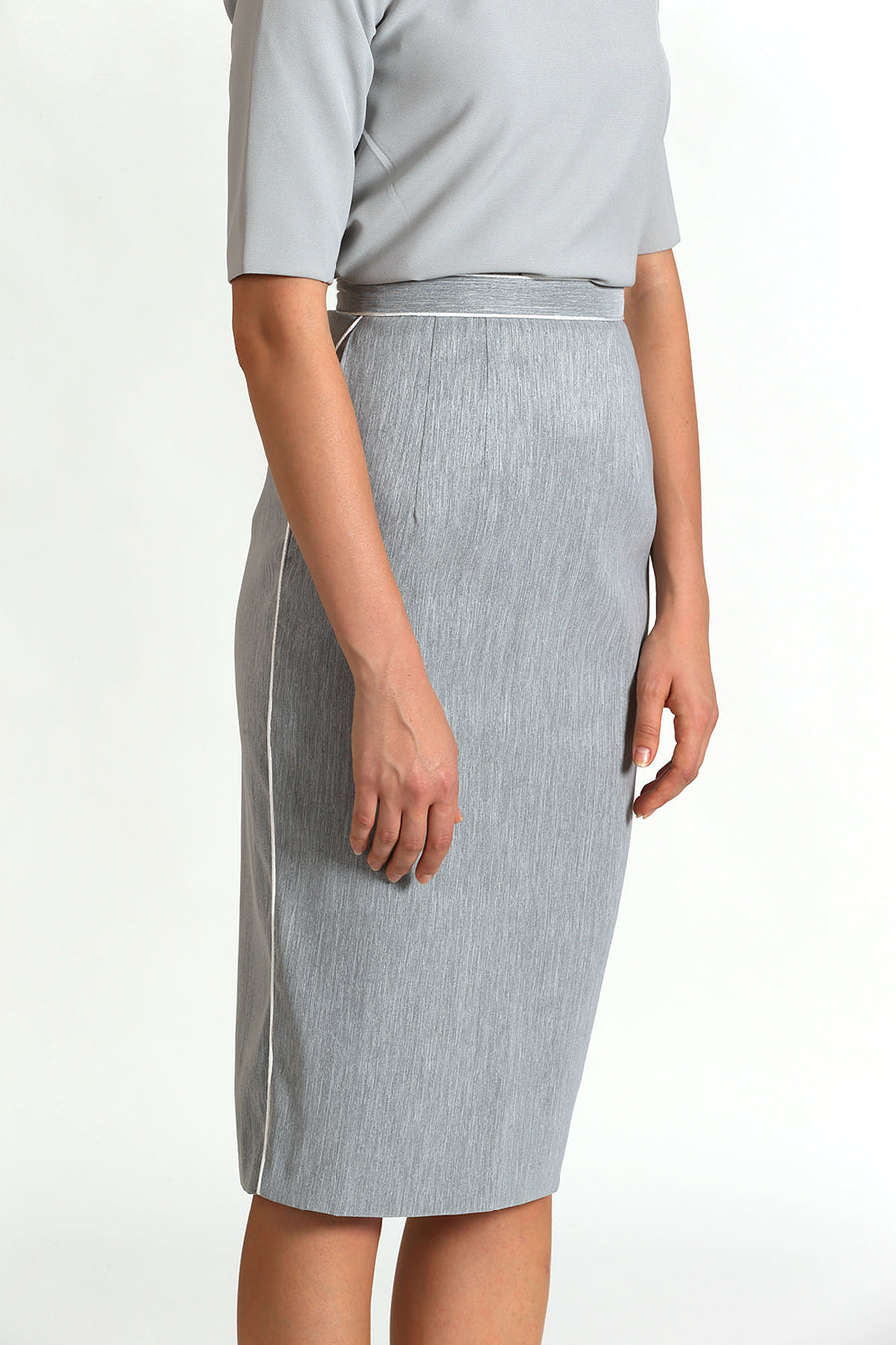 Contrast Binded Pencil Skirt | Grey