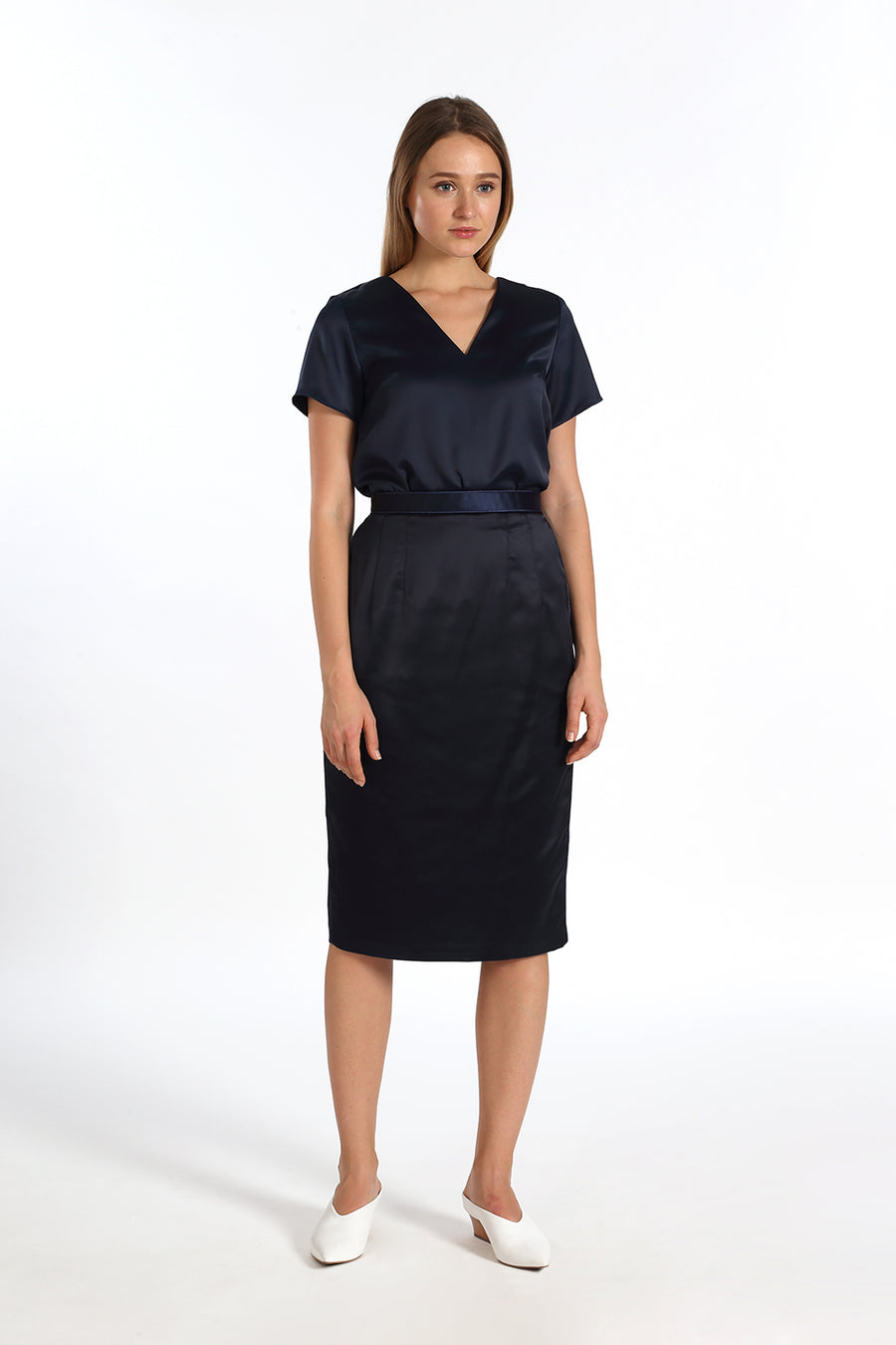 Contrast Binded Pencil Skirt | Navy