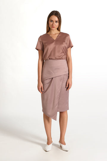 Asymmetrical Wrap Front Skirt