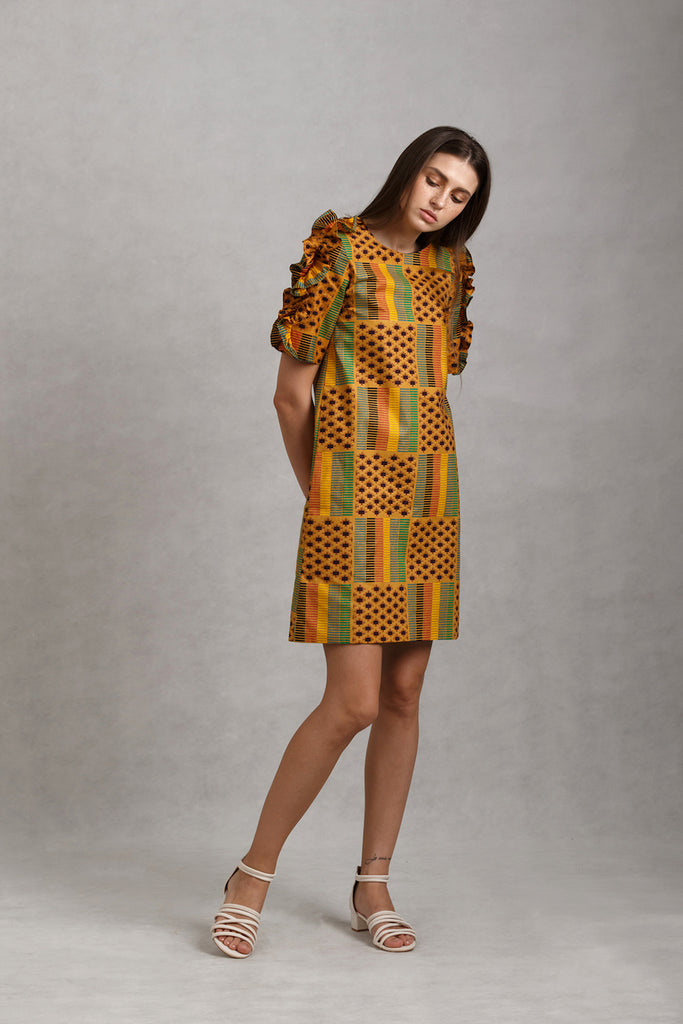 Print Ruffled Sleeves Shift Dress | Brown