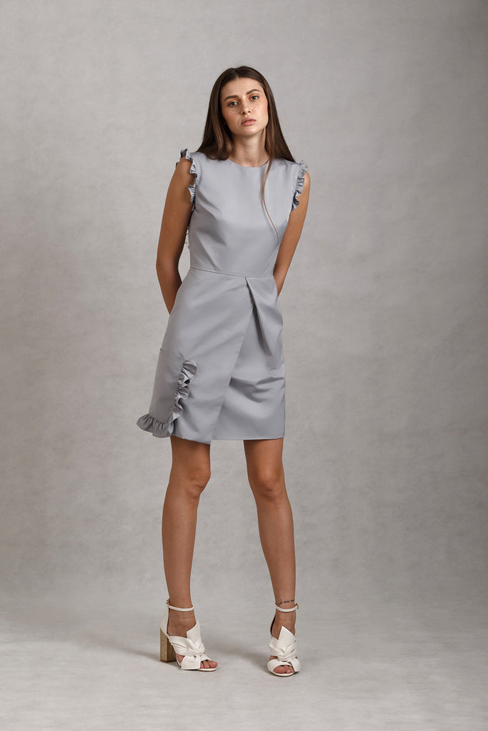 Frill Pocket Overlap Mini Dress | Navy