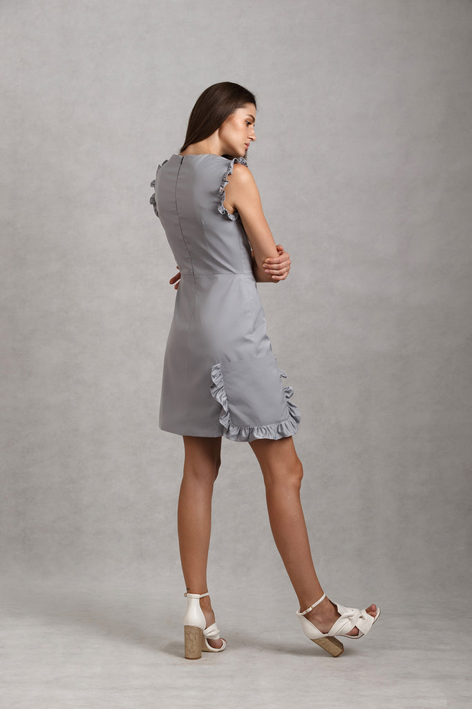 Frill Pocket Overlap Mini Dress | Grey