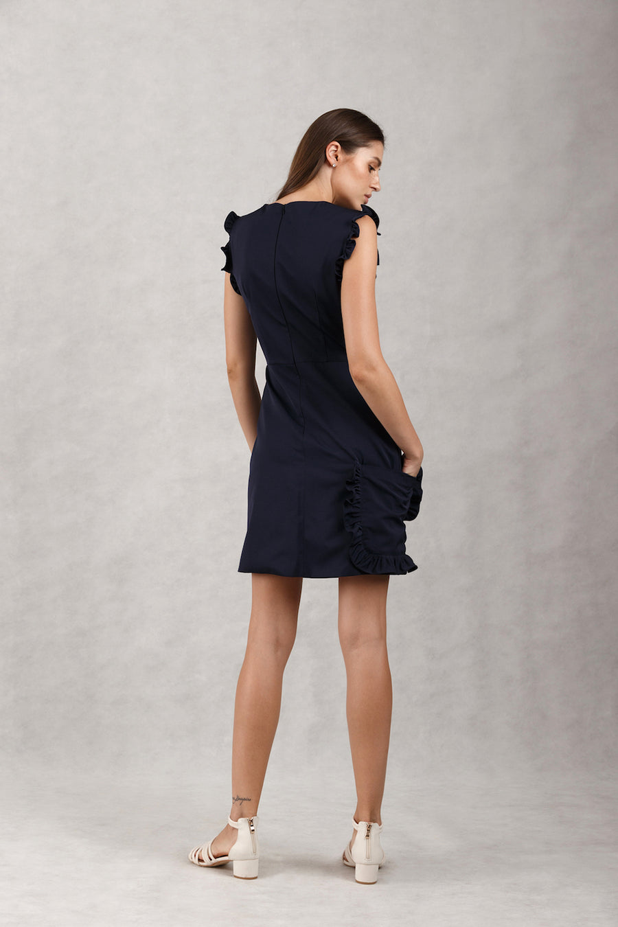 Frill Pocket Overlap Mini Dress | Nude