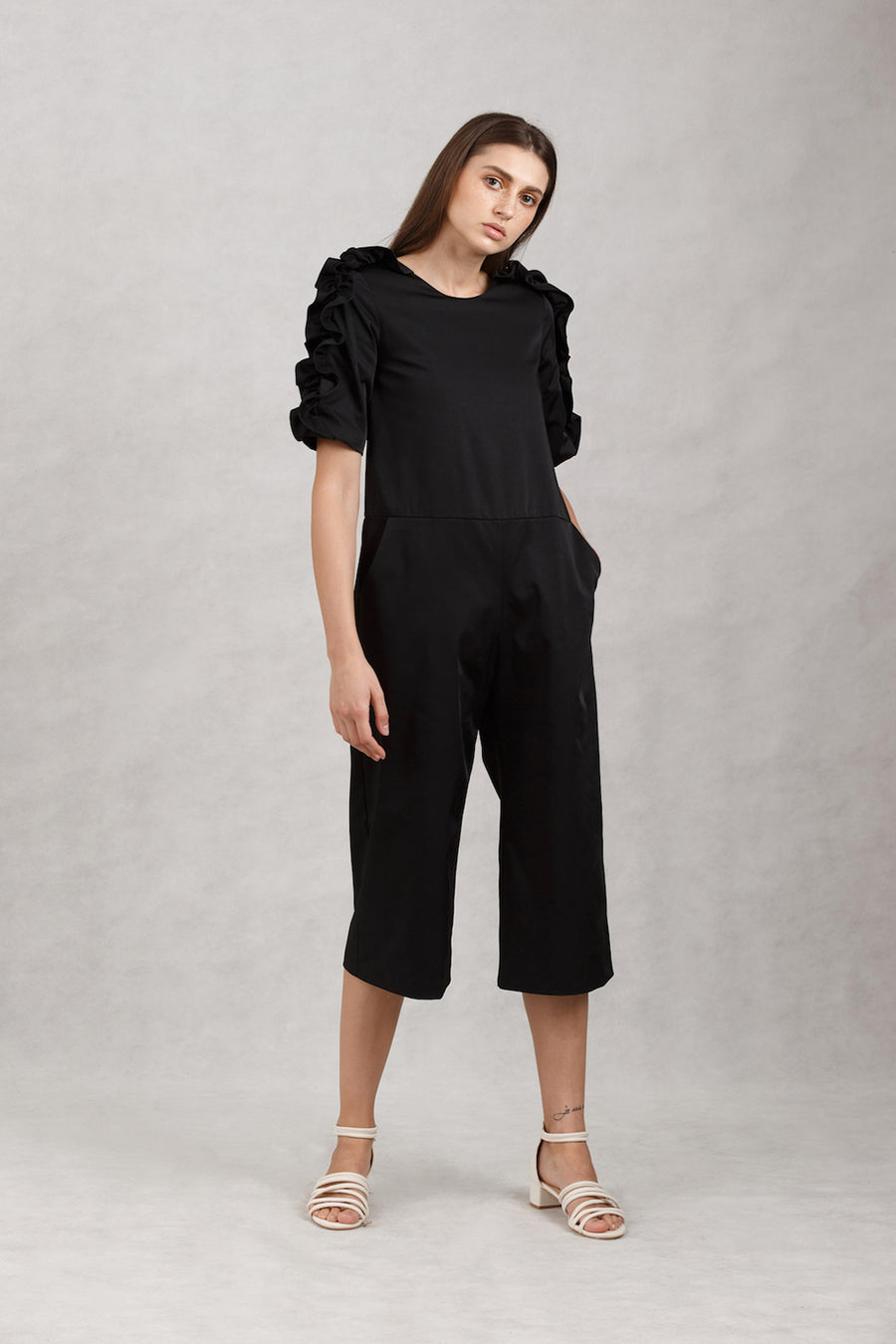 Ruffled Sleeve Jumpsuit | Black