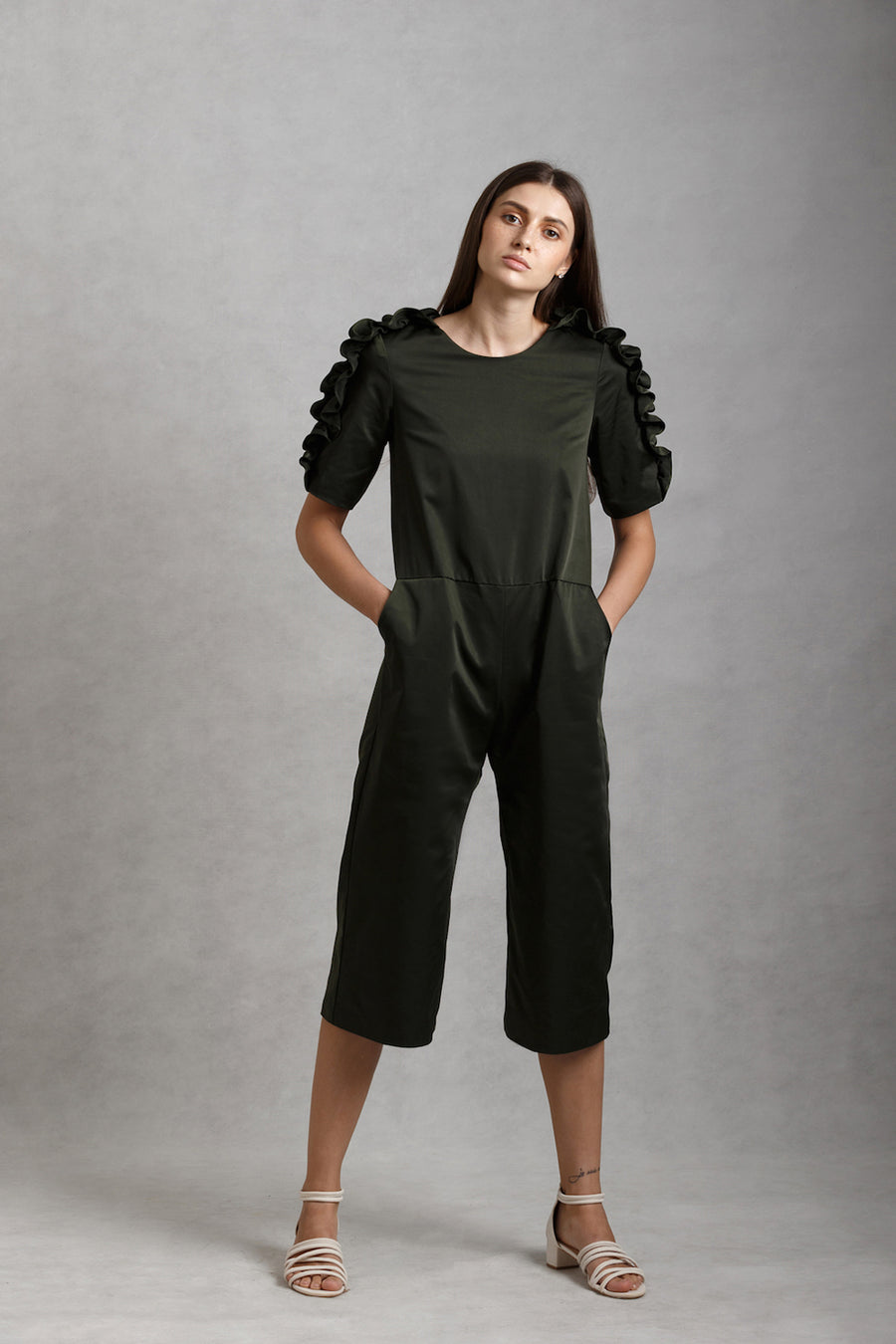 Ruffled Sleeve Jumpsuit | Olive